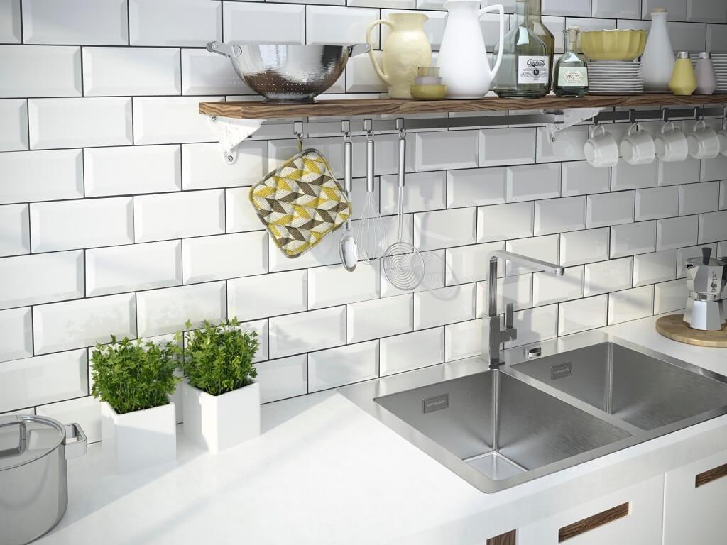 wyjątkowe płytki w formie cegiełek w kuchni